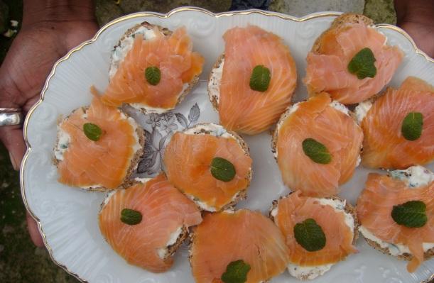 canapés de salmão com queijo e hortelã
