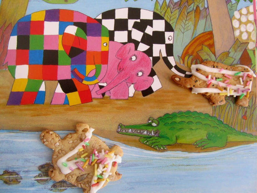 bolachas com glacé tartaruga e rinoceronte