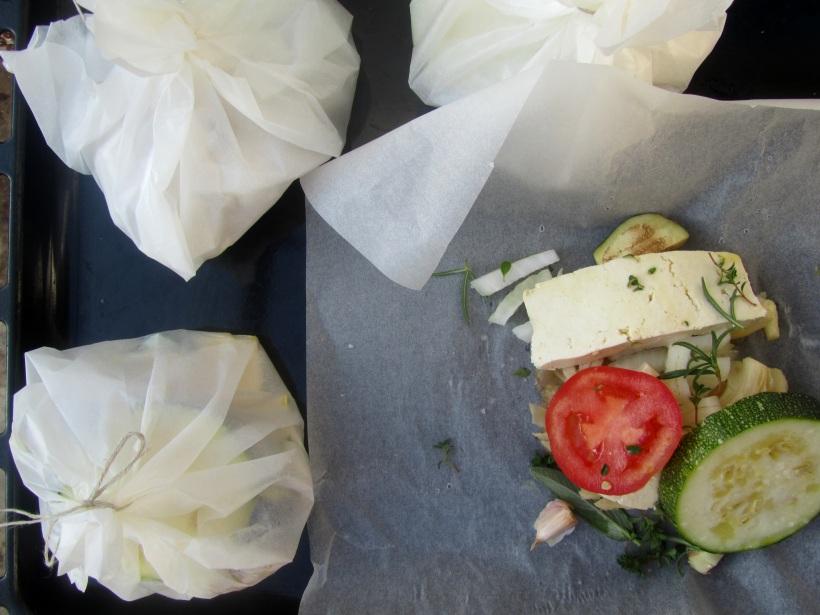 papelote de tofu aberto